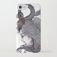 caitlin hackett iPhone & iPod Cases featuring Swan Song art print by Caitlin Hackett