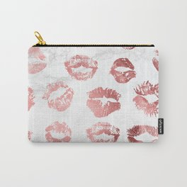 Fashion Lips Rose Gold Lipstick on Marble Carry-All Pouch