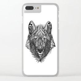 Zen Doodle Wolf Clear iPhone Case