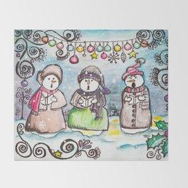 Holiday Snowman Singing Trio Throw Blanket