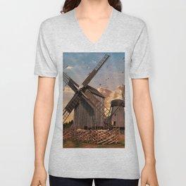 Traditonal dutch windmills at sunrise Unisex V-Neck