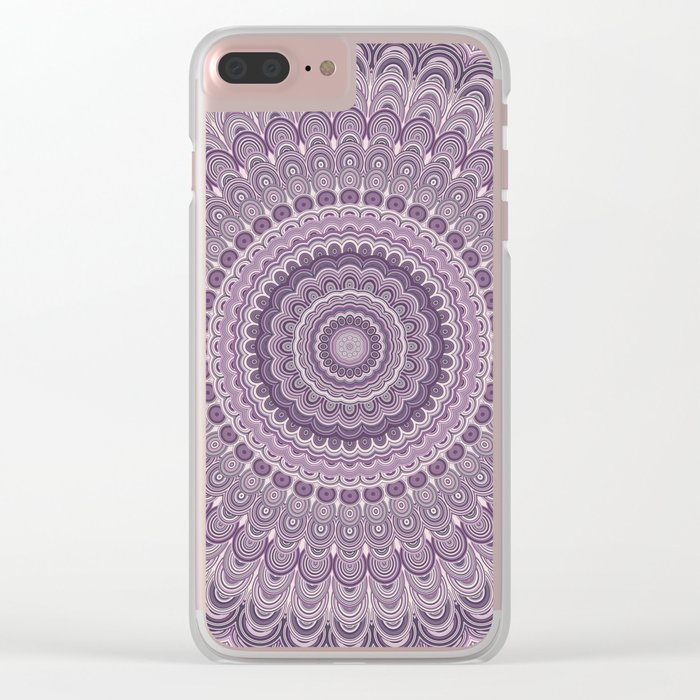 Purple feather mandala Clear iPhone Case