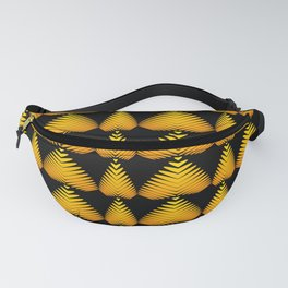 Alternating pattern of yellow hearts and stripes on a black background. Fanny Pack