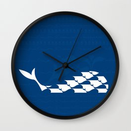 Whale in Blue Ocean with a Love Heart Wall Clock