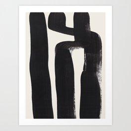 Mid Century Modern Minimalist Abstract Art Brush Strokes Black & White Ink Art Ancient Stripes Art Print