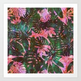 Motuu Tropical pink & green Art Print