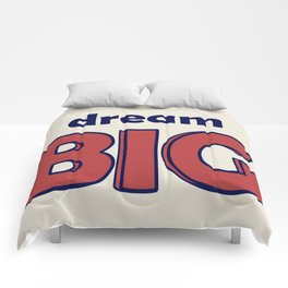 Dream BIG - Positive Thinking - Deep Blue & Red Comforters