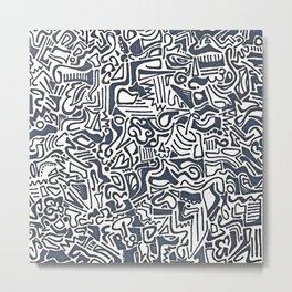 Blue Line Art Metal Print
