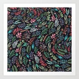 water color run leaves Art Print