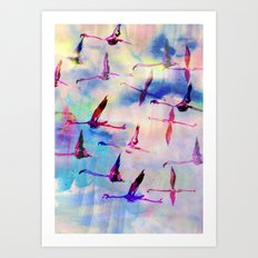 Flamingos In Flight Art Print