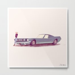 G'mas and their Hotrods Series, no.03 Ford Mustang Fastback Metal Print