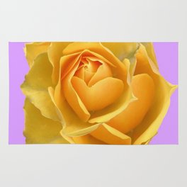 YELLOW GARDEN ROSE ON LILAC Rug