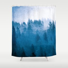 Blue Winter Day Foggy Trees Shower Curtain