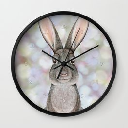 rabbit woodland animal portrait Wall Clock