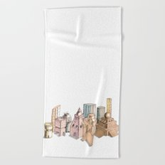 the city painted in pastel colours Beach Towel