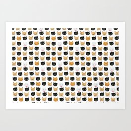 good kitty-bad kitty pattern Art Print