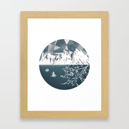 Mountain print , Navy Blue poster , mid century Modern art , travel poster Framed Art Print