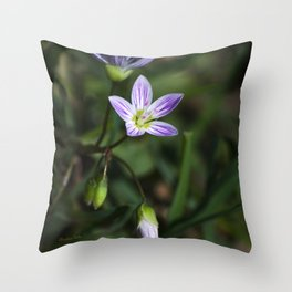 Spring Beauty Wildflowers Throw Pillow