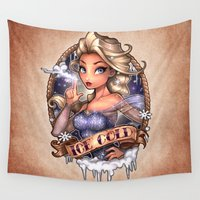 tim burton Wall Tapestries featuring ICE COLD by Tim Shumate