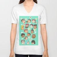 emoji V-neck T-shirts featuring emoji talk by Hugo Lucas