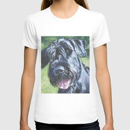 Giant Schnauzer Dog Portrait Art from an original painting by L.A.Shepard T-shirt