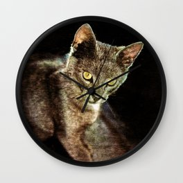 Black cat and piano Music was my first love Wall Clock