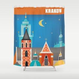 Krakow, Poland - Skyline Illustration by Loose Petals Shower Curtain