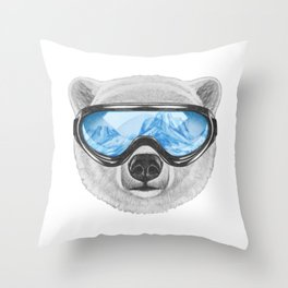 Portrait of Polar Bear with ski goggles. Throw Pillow