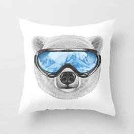 Portrait of Polar Bear with ski goggles. Throw Pillow
