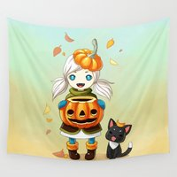 pumpkin Wall Tapestries featuring Pumpkin 2 by Freeminds