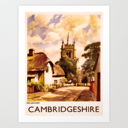 retro iconic Cambridgeshire poster Art Print