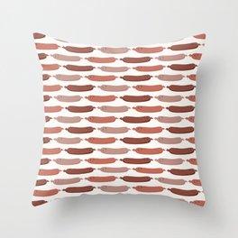 Cute vector sausages cartoon Throw Pillow
