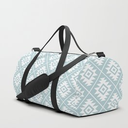 Aztec Symbol Ptn White on Duck Egg Blue Duffle Bag