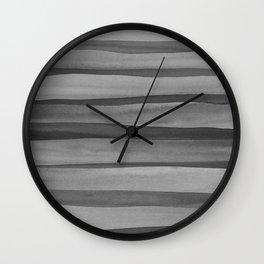 Gray Watercolor Lines Pattern Wall Clock