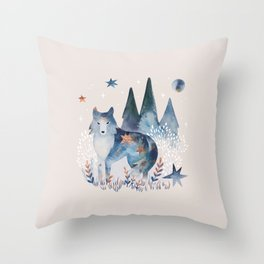 Watercolor Celestial Wolf | Mystic Forest | Soul Animal Throw Pillow