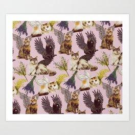 Cat Cherubs Art Print