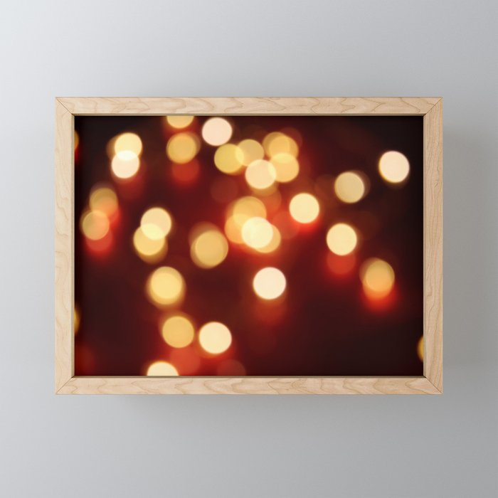 Gold and Red Bokeh Photography Framed Mini Art Print