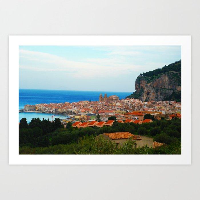 Cityscape of Cefalu Italy Art Print