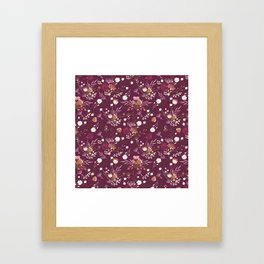 Burgundy white blush pink hand painted floral Framed Art Print