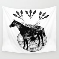 hiphop Wall Tapestries featuring Black and white horse and the flowers by JBLITTLEMONSTERS