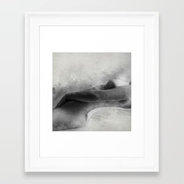 Time for Myself. Nude woman pencil and watercolor portrait Framed Art Print