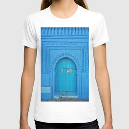 BLUE PAINTED WALL AND DOOR AT DAYTIME T-shirt