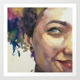 Rainbows in her hair no.2 Art Print
