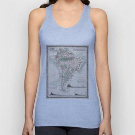 Vintage Map of South America (1858) Unisex Tank Top