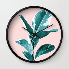 Ficus Elastica Finesse #2 #tropical #foliage #decor #art #society6 Wall Clock