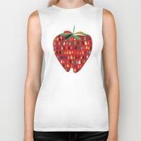 strawberry Biker Tanks featuring Strawberry by Picomodi