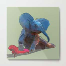 animals in chairs #25 The Elephant Metal Print
