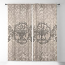Triple Moon with pentagram and tree of life Sheer Curtain