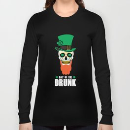 St Patricks Day Sugar Skull Top Hat Day Of The Drunk Long Sleeve T-shirt