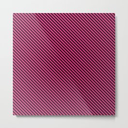 Pink Yarrow and Black Stripe Metal Print